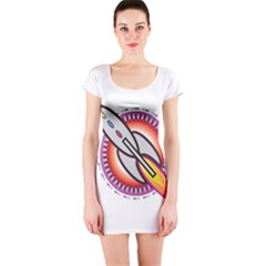 Space Rocket Short Sleeve Bodycon Dresses