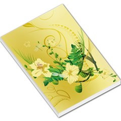 Wonderful Soft Yellow Flowers With Leaves Large Memo Pads