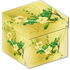 Wonderful Soft Yellow Flowers With Leaves Storage Stool 12