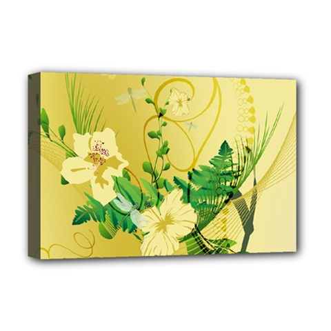 Wonderful Soft Yellow Flowers With Leaves Deluxe Canvas 18  x 12