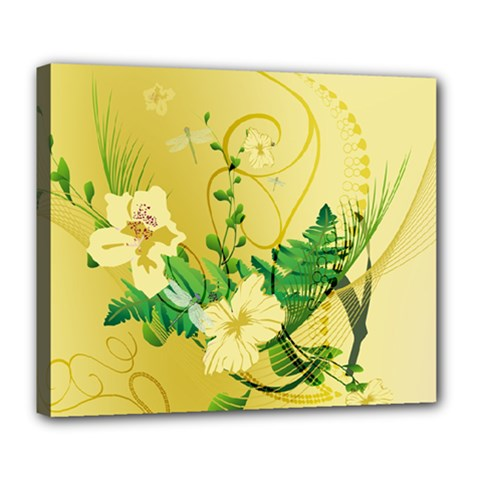 Wonderful Soft Yellow Flowers With Leaves Deluxe Canvas 24  x 20