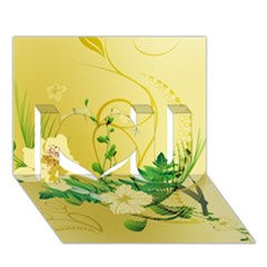 Wonderful Soft Yellow Flowers With Leaves I Love You 3D Greeting Card (7x5)