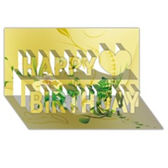 Wonderful Soft Yellow Flowers With Leaves Happy Birthday 3d Greeting Card (8x4)