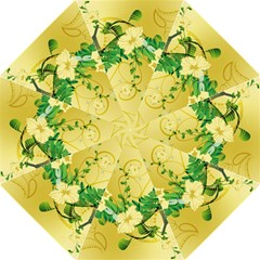 Wonderful Soft Yellow Flowers With Leaves Hook Handle Umbrellas (Large)