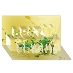 Wonderful Soft Yellow Flowers With Leaves Best Friends 3D Greeting Card (8x4)