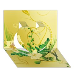 Wonderful Soft Yellow Flowers With Leaves Heart 3D Greeting Card (7x5)