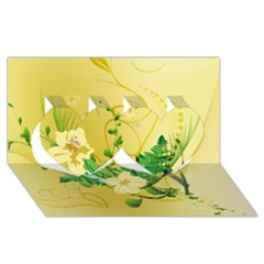 Wonderful Soft Yellow Flowers With Leaves Twin Hearts 3d Greeting Card (8x4)