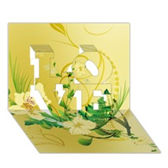 Wonderful Soft Yellow Flowers With Leaves Love 3d Greeting Card (7x5)