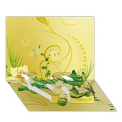 Wonderful Soft Yellow Flowers With Leaves Love Bottom 3d Greeting Card (7x5)