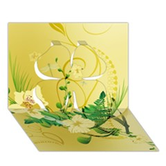 Wonderful Soft Yellow Flowers With Leaves Clover 3d Greeting Card (7x5)