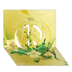 Wonderful Soft Yellow Flowers With Leaves Peace Sign 3D Greeting Card (7x5)