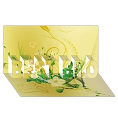 Wonderful Soft Yellow Flowers With Leaves BEST BRO 3D Greeting Card (8x4)