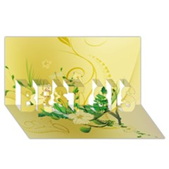 Wonderful Soft Yellow Flowers With Leaves Best Sis 3d Greeting Card (8x4)