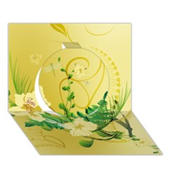 Wonderful Soft Yellow Flowers With Leaves Circle 3d Greeting Card (7x5)