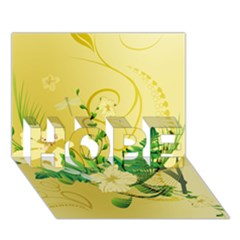 Wonderful Soft Yellow Flowers With Leaves HOPE 3D Greeting Card (7x5)