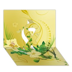 Wonderful Soft Yellow Flowers With Leaves Ribbon 3d Greeting Card (7x5)