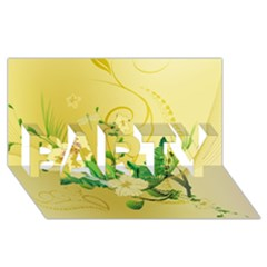 Wonderful Soft Yellow Flowers With Leaves Party 3d Greeting Card (8x4)