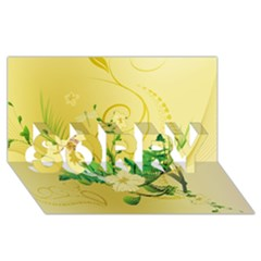 Wonderful Soft Yellow Flowers With Leaves SORRY 3D Greeting Card (8x4)