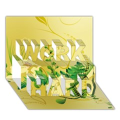 Wonderful Soft Yellow Flowers With Leaves WORK HARD 3D Greeting Card (7x5)