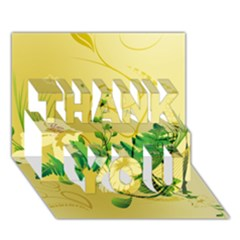 Wonderful Soft Yellow Flowers With Leaves THANK YOU 3D Greeting Card (7x5)