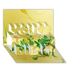 Wonderful Soft Yellow Flowers With Leaves You Did It 3D Greeting Card (7x5)