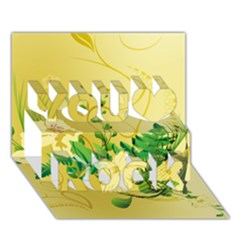Wonderful Soft Yellow Flowers With Leaves You Rock 3D Greeting Card (7x5)