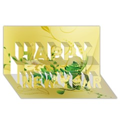 Wonderful Soft Yellow Flowers With Leaves Happy New Year 3D Greeting Card (8x4)