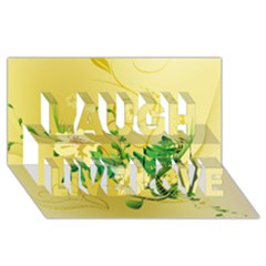 Wonderful Soft Yellow Flowers With Leaves Laugh Live Love 3D Greeting Card (8x4)