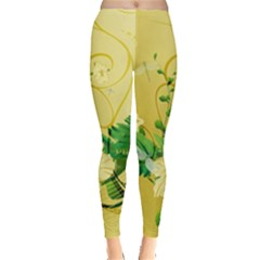 Wonderful Soft Yellow Flowers With Leaves Women s Leggings
