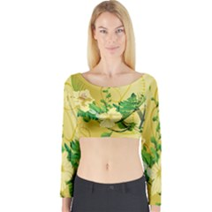 Wonderful Soft Yellow Flowers With Leaves Long Sleeve Crop Top