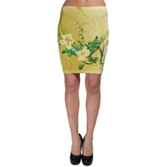 Wonderful Soft Yellow Flowers With Leaves Bodycon Skirts