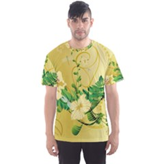 Wonderful Soft Yellow Flowers With Leaves Men s Sport Mesh Tees