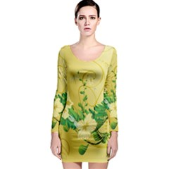 Wonderful Soft Yellow Flowers With Leaves Long Sleeve Bodycon Dresses