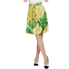 Wonderful Soft Yellow Flowers With Leaves A-Line Skirts