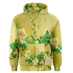 Wonderful Soft Yellow Flowers With Leaves Men s Pullover Hoodies
