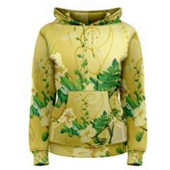 Wonderful Soft Yellow Flowers With Leaves Women s Pullover Hoodies