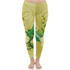 Wonderful Soft Yellow Flowers With Leaves Winter Leggings
