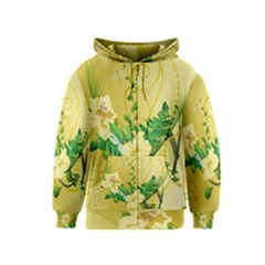 Wonderful Soft Yellow Flowers With Leaves Kids Zipper Hoodies