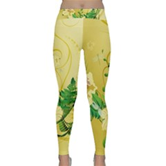 Wonderful Soft Yellow Flowers With Leaves Yoga Leggings