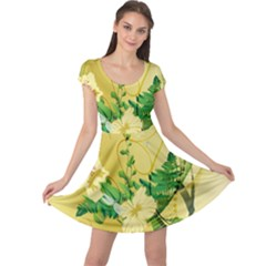 Wonderful Soft Yellow Flowers With Leaves Cap Sleeve Dresses