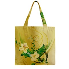 Wonderful Soft Yellow Flowers With Leaves Zipper Grocery Tote Bags