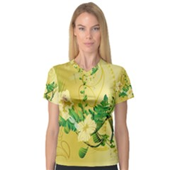 Wonderful Soft Yellow Flowers With Leaves Women s V-Neck Sport Mesh Tee