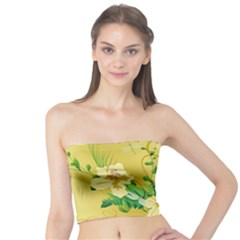 Wonderful Soft Yellow Flowers With Leaves Women s Tube Tops