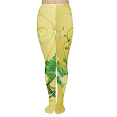 Wonderful Soft Yellow Flowers With Leaves Women s Tights