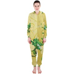 Wonderful Soft Yellow Flowers With Leaves Hooded Jumpsuit (Ladies)