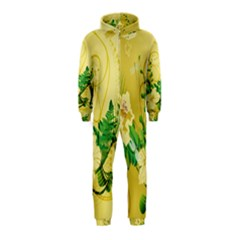 Wonderful Soft Yellow Flowers With Leaves Hooded Jumpsuit (Kids)