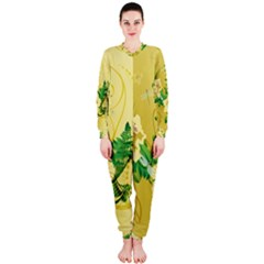 Wonderful Soft Yellow Flowers With Leaves Onepiece Jumpsuit (ladies)