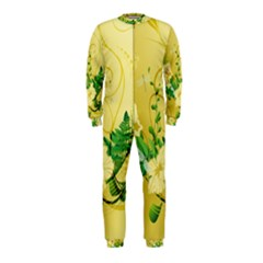 Wonderful Soft Yellow Flowers With Leaves OnePiece Jumpsuit (Kids)
