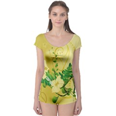 Wonderful Soft Yellow Flowers With Leaves Short Sleeve Leotard