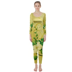 Wonderful Soft Yellow Flowers With Leaves Long Sleeve Catsuit
